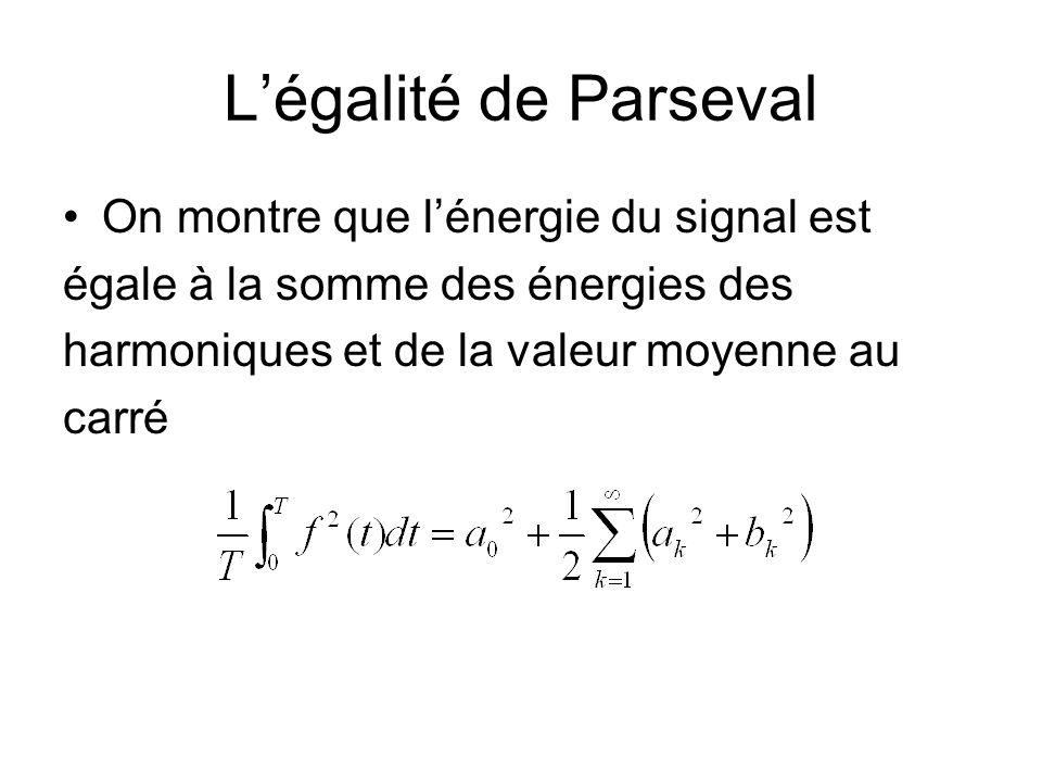 Légalité de Parseval On montre que lénergie du signal est égale à la somme des énergies des harmoniques et de la valeur moyenne au carré