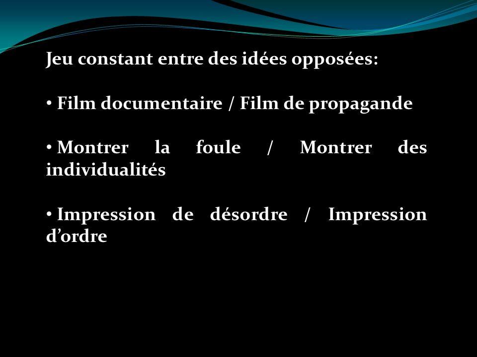 Jeu constant entre des idées opposées: Film documentaire / Film de propagande Montrer la foule / Montrer des individualités Impression de désordre / Impression dordre