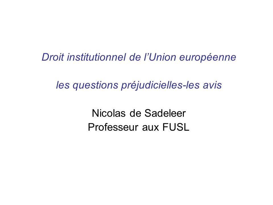 Droit institutionnel de lUnion européenne les questions préjudicielles-les avis Nicolas de Sadeleer Professeur aux FUSL