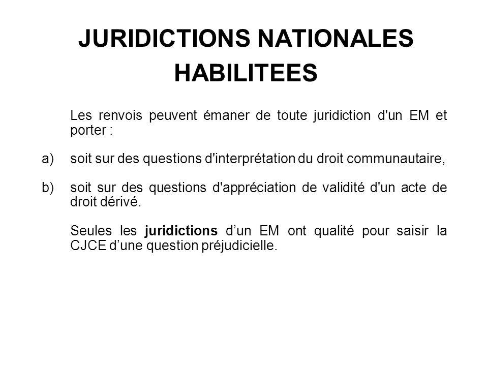 JURIDICTIONS NATIONALES HABILITEES Les renvois peuvent émaner de toute juridiction d'un EM et porter : a)soit sur des questions d'interprétation du dr