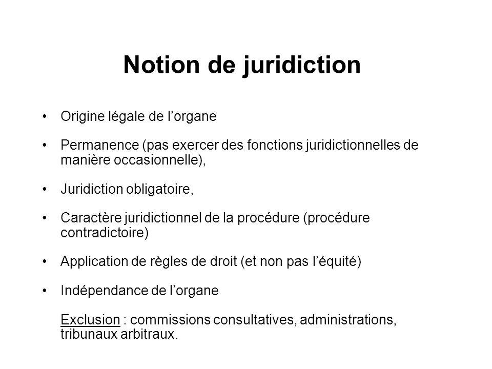 Notion de juridiction Origine légale de lorgane Permanence (pas exercer des fonctions juridictionnelles de manière occasionnelle), Juridiction obligat