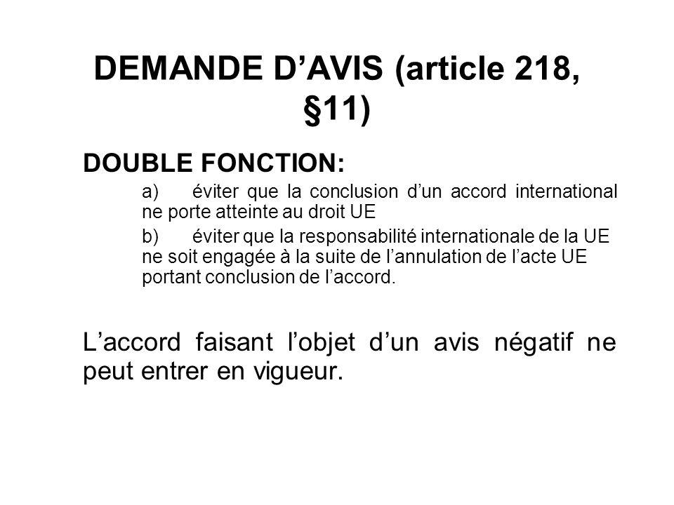 DEMANDE DAVIS (article 218, §11) DOUBLE FONCTION: a)éviter que la conclusion dun accord international ne porte atteinte au droit UE b)éviter que la re