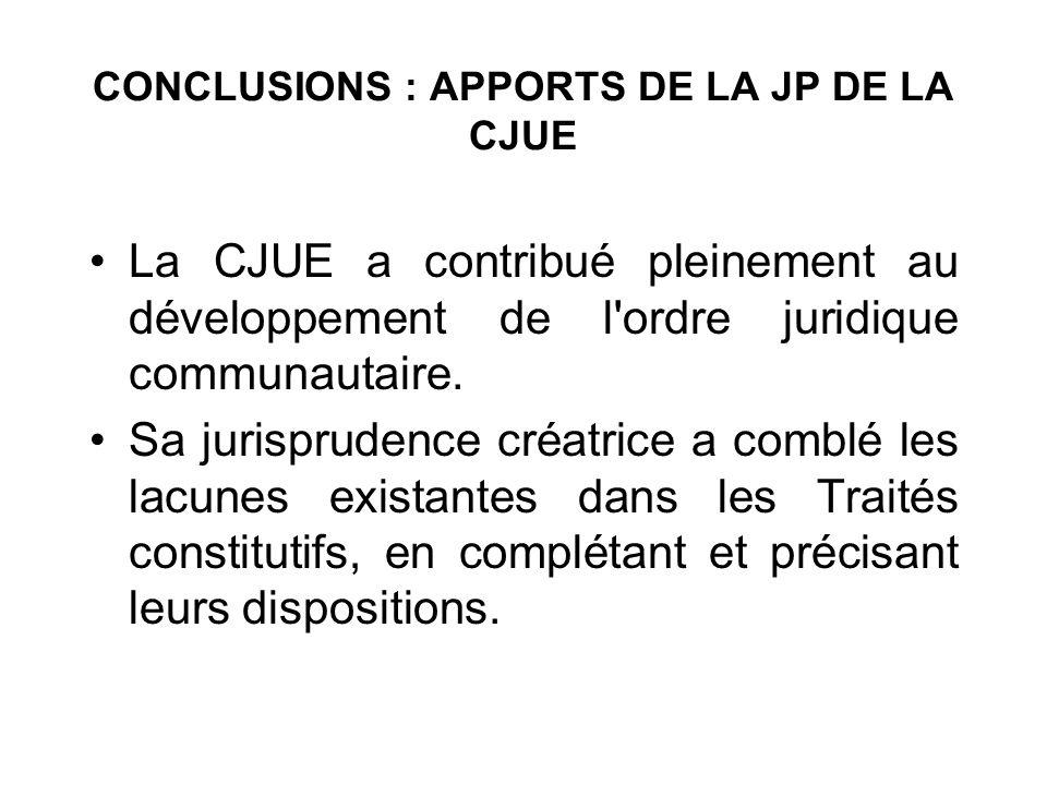 CONCLUSIONS : APPORTS DE LA JP DE LA CJUE La CJUE a contribué pleinement au développement de l'ordre juridique communautaire. Sa jurisprudence créatri
