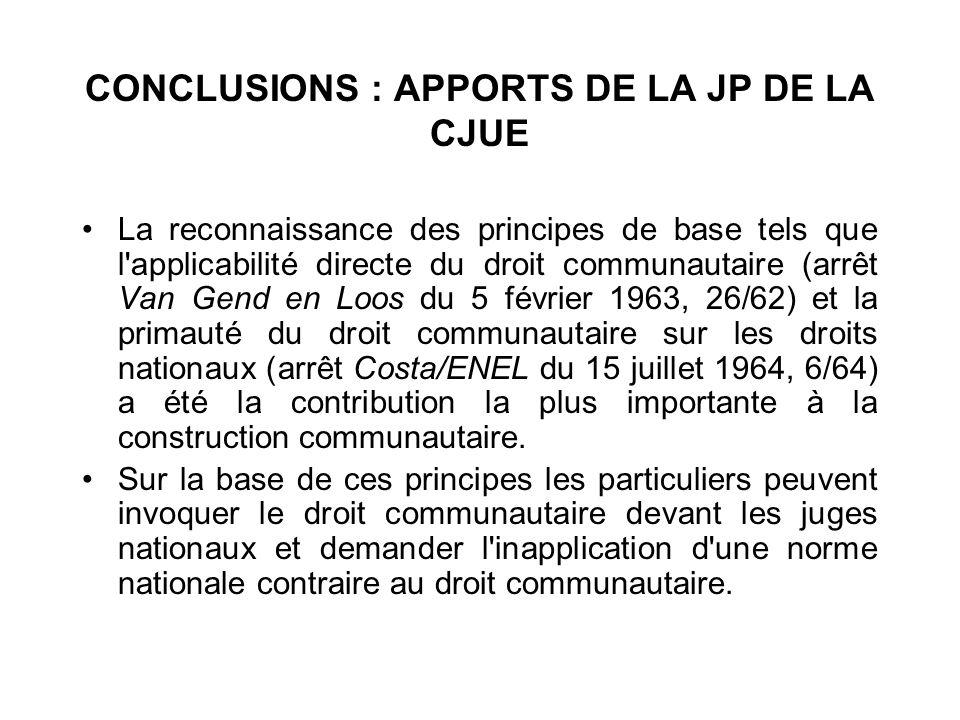 CONCLUSIONS : APPORTS DE LA JP DE LA CJUE La reconnaissance des principes de base tels que l'applicabilité directe du droit communautaire (arrêt Van G