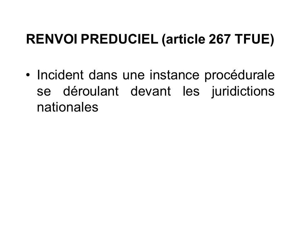 RENVOI PREDUCIEL (article 267 TFUE) Incident dans une instance procédurale se déroulant devant les juridictions nationales