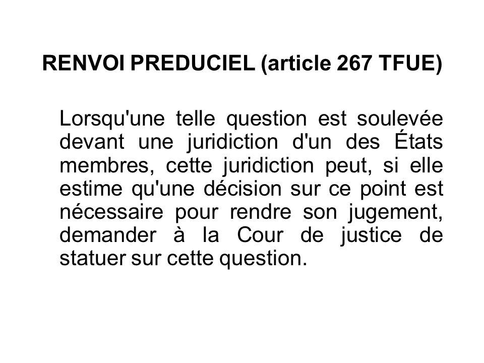 RENVOI PREDUCIEL (article 267 TFUE) Lorsqu'une telle question est soulevée devant une juridiction d'un des États membres, cette juridiction peut, si e