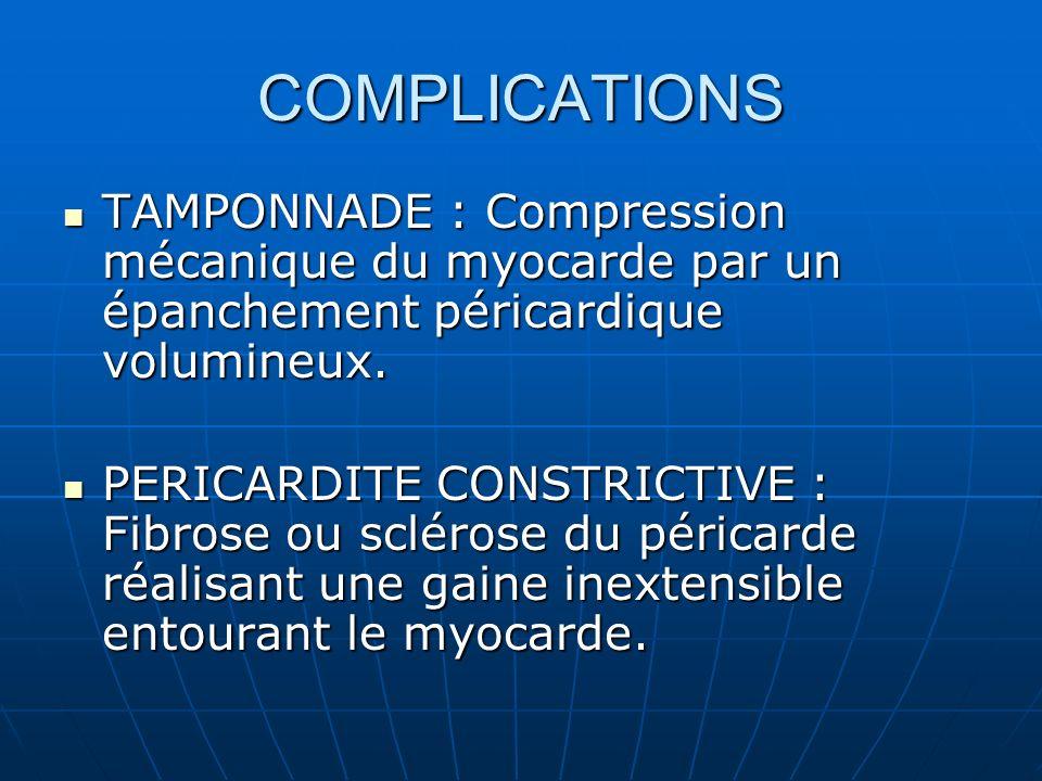 COMPLICATIONS TAMPONNADE : Compression mécanique du myocarde par un épanchement péricardique volumineux. TAMPONNADE : Compression mécanique du myocard