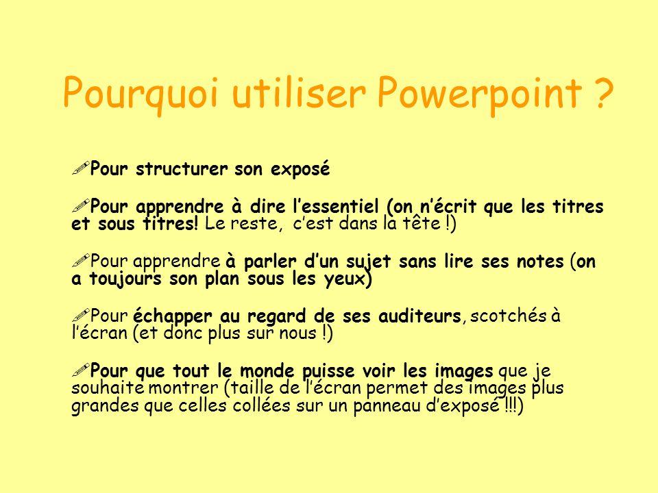 Pourquoi utiliser Powerpoint ? Pour structurer son exposé Pour apprendre à dire lessentiel (on nécrit que les titres et sous titres! Le reste, cest da