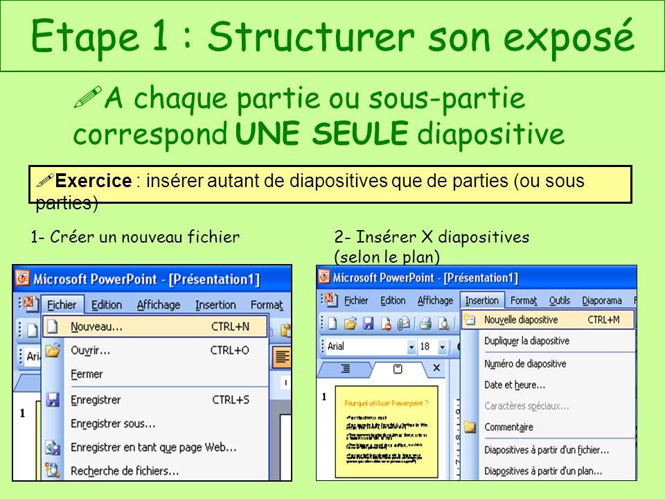 Etape 1 : Structurer son exposé A chaque partie ou sous-partie correspond UNE SEULE diapositive Exercice : insérer autant de diapositives que de parti