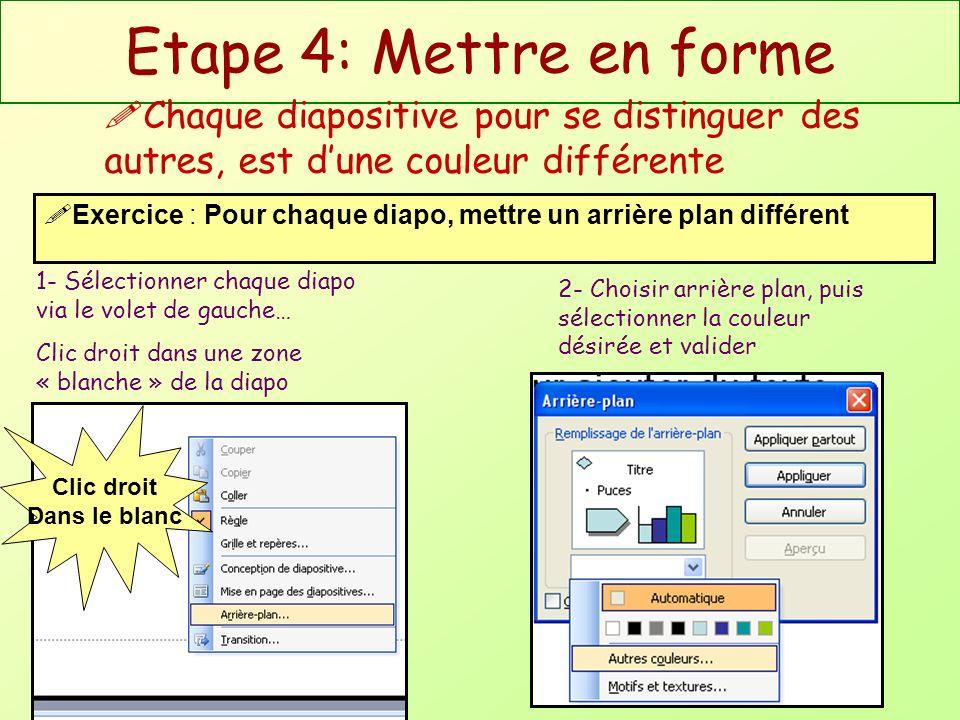 Etape 5: Animer son exposé Lenchaînement entre les diapositives peut utiliser des transitions animées 1- Sélectionner chaque diapo via le volet de gauche… Menu [diaporama/transition], et choisir la transition Exercice : Pour chaque diapo, choisir une transition 2- Pour visualiser la transition, clic sur [Lecture]
