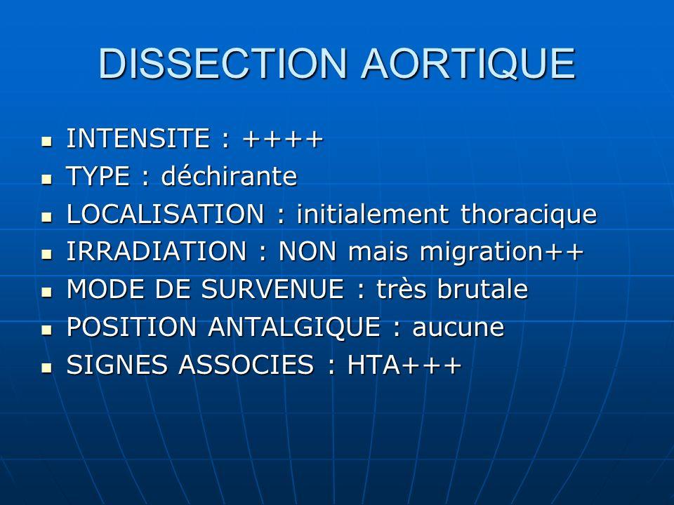 DISSECTION AORTIQUE INTENSITE : ++++ INTENSITE : ++++ TYPE : déchirante TYPE : déchirante LOCALISATION : initialement thoracique LOCALISATION : initialement thoracique IRRADIATION : NON mais migration++ IRRADIATION : NON mais migration++ MODE DE SURVENUE : très brutale MODE DE SURVENUE : très brutale POSITION ANTALGIQUE : aucune POSITION ANTALGIQUE : aucune SIGNES ASSOCIES : HTA+++ SIGNES ASSOCIES : HTA+++
