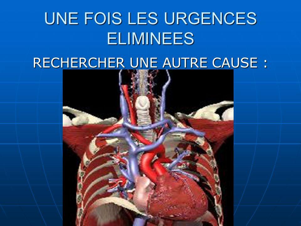 1)Douleur pariétale Cutanée Cutanée Musculaire Musculaire Osseuse (fracture) Osseuse (fracture) Neurologique (névralgie intercostale) Neurologique (névralgie intercostale) 2)Douleur pleurale Épanchement gazeux (pneumothorax) Épanchement gazeux (pneumothorax) Épanchement sanguin (hémothorax) Épanchement sanguin (hémothorax) Épanchement purulent (pleurésie purulente) Épanchement purulent (pleurésie purulente) 3)Douleur pulmonaire Infection Infection Tumeur Tumeur 4)Douleur digestive Reflux gastro-oesophagien Reflux gastro-oesophagien Spasme de lœsophage Spasme de lœsophage Ulcère gastrique Ulcère gastrique