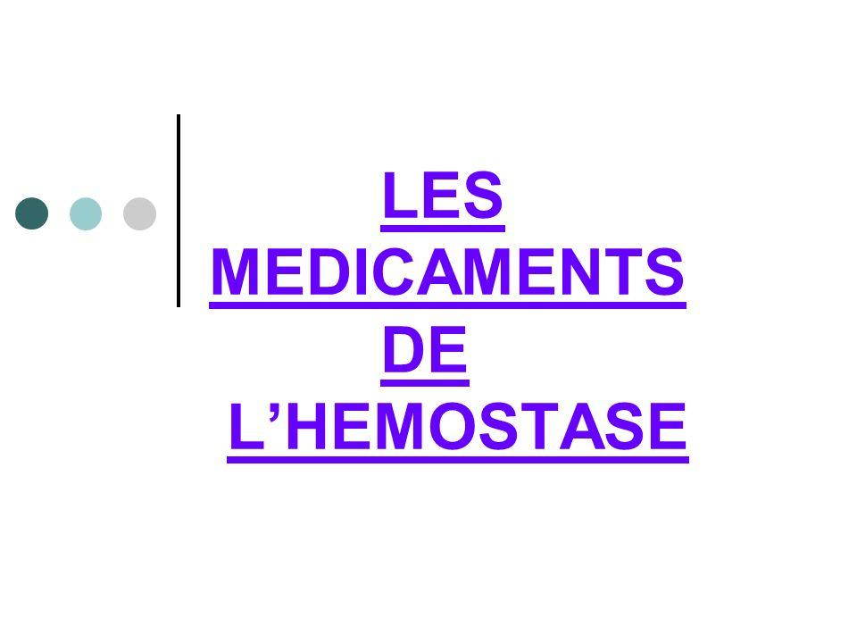 OBJECTIFS PEDAGOGIQUES : Citez les familles des médicaments de l hémostase Citez les différentes classes dA.T.C et les autres médicaments de lhémostase Expliquez leurs modes dactions, leurs modes dadministration.