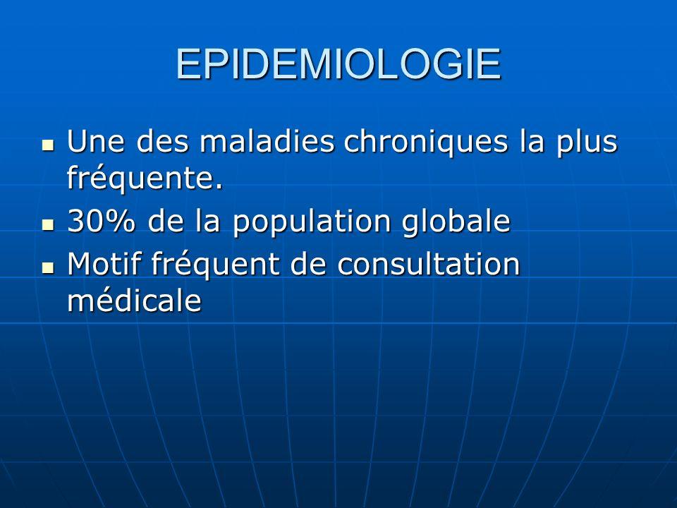 EPIDEMIOLOGIE Une des maladies chroniques la plus fréquente. Une des maladies chroniques la plus fréquente. 30% de la population globale 30% de la pop
