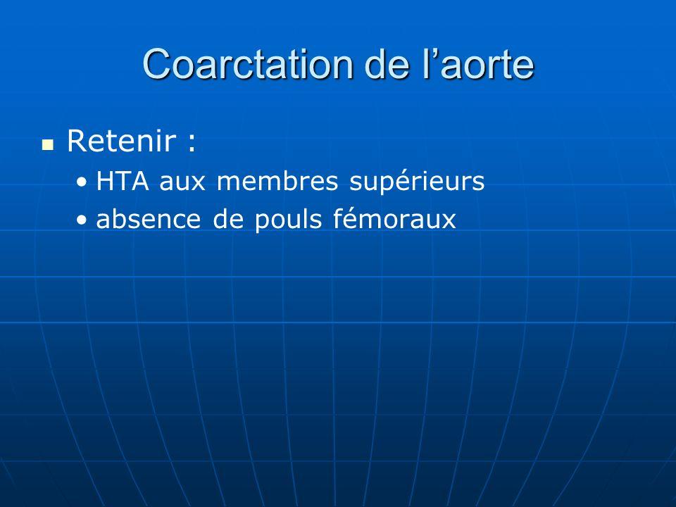 Coarctation de laorte Retenir : HTA aux membres supérieurs absence de pouls fémoraux