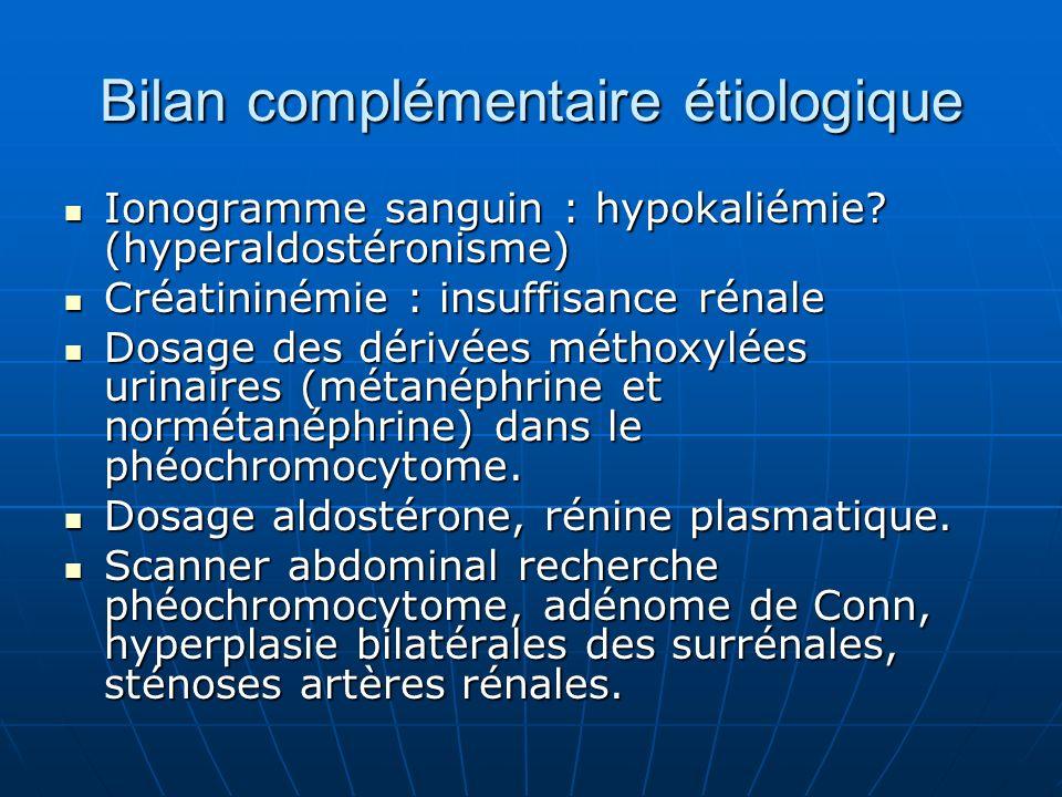 Bilan complémentaire étiologique Ionogramme sanguin : hypokaliémie.