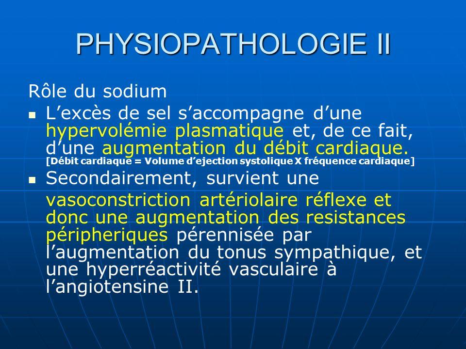 PHYSIOPATHOLOGIE II Rôle du sodium Lexcès de sel saccompagne dune hypervolémie plasmatique et, de ce fait, dune augmentation du débit cardiaque.