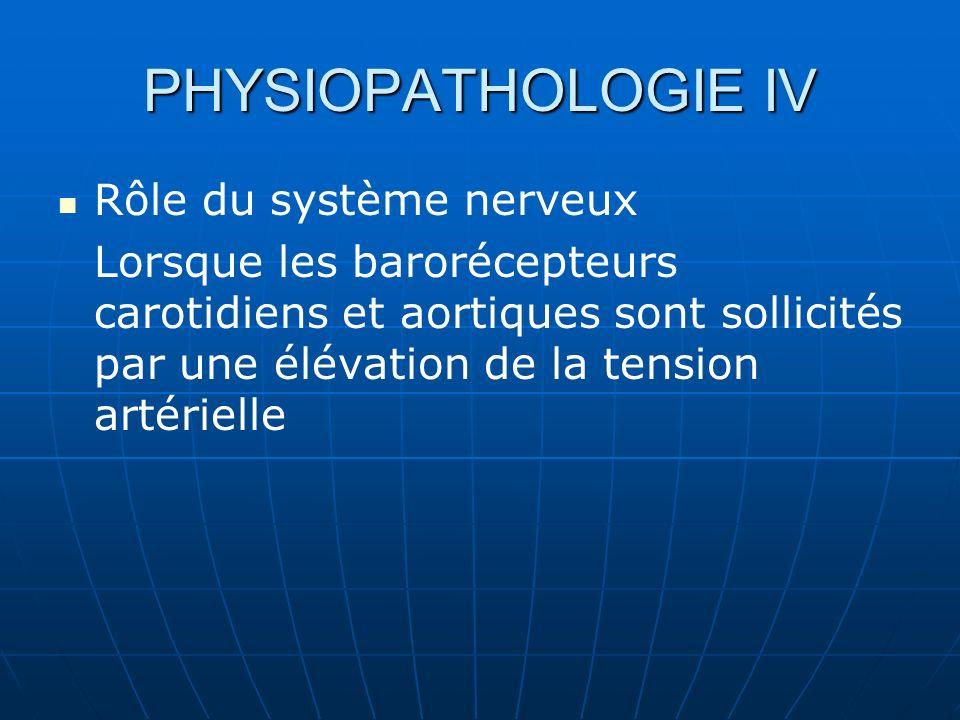 PHYSIOPATHOLOGIE IV Rôle du système nerveux Lorsque les barorécepteurs carotidiens et aortiques sont sollicités par une élévation de la tension artérielle