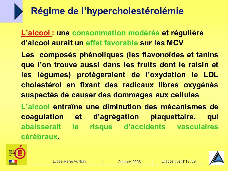 Lycée René AuffrayDiapositive N°17 /39 Octobre 2008 Lalcool : une consommation modérée et régulière dalcool aurait un effet favorable sur les MCV Les