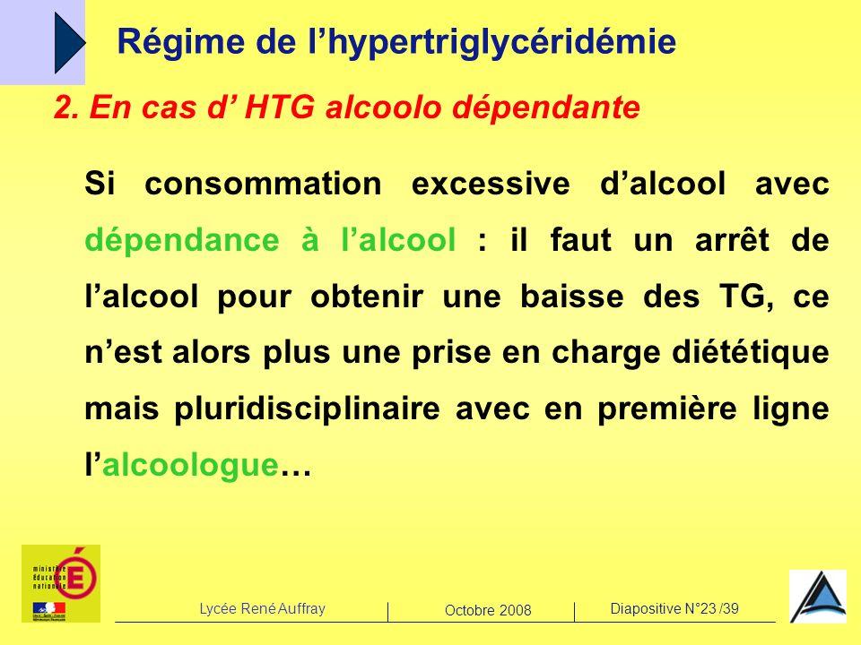 Lycée René AuffrayDiapositive N°23 /39 Octobre 2008 Régime de lhypertriglycéridémie 2. En cas d HTG alcoolo dépendante Si consommation excessive dalco
