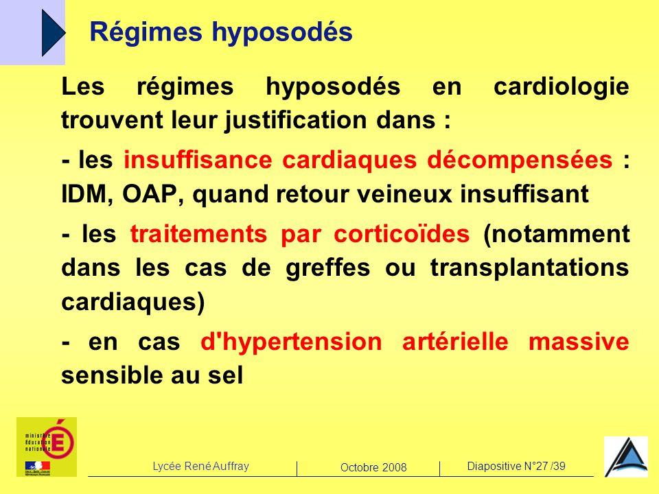 Lycée René AuffrayDiapositive N°27 /39 Octobre 2008 Les régimes hyposodés en cardiologie trouvent leur justification dans : - les insuffisance cardiaq