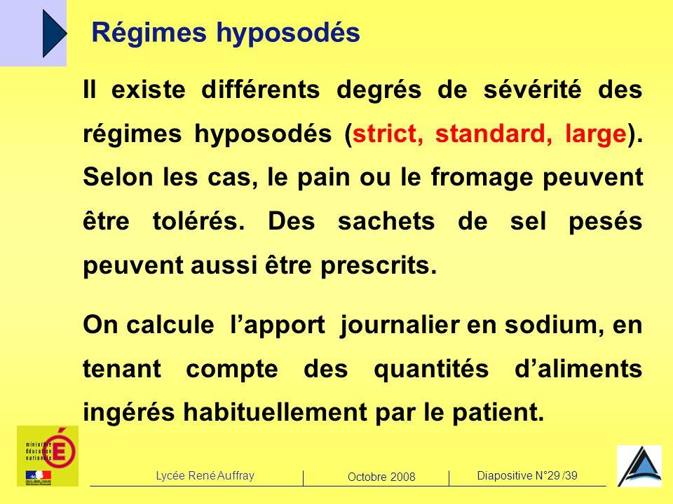 Lycée René AuffrayDiapositive N°29 /39 Octobre 2008 Régimes hyposodés Il existe différents degrés de sévérité des régimes hyposodés (strict, standard,