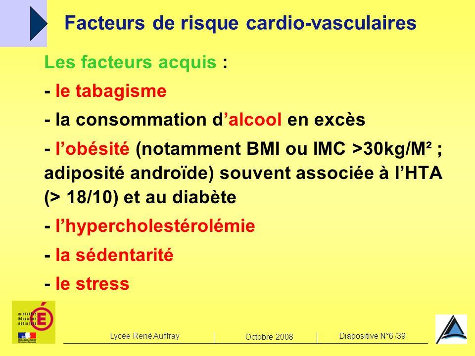 Lycée René AuffrayDiapositive N°6 /39 Octobre 2008 Les facteurs acquis : - le tabagisme - la consommation dalcool en excès - lobésité (notamment BMI o
