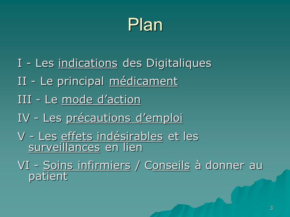 3 Plan I - Les indications des Digitaliques II - Le principal médicament III - Le mode daction IV - Les précautions demploi V - Les effets indésirable