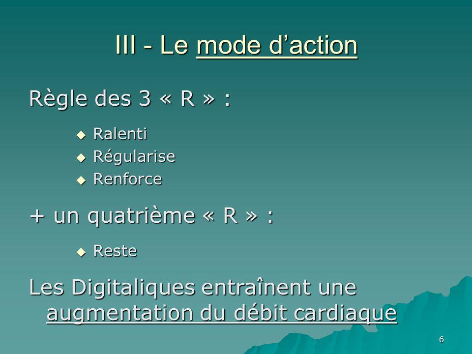 6 III - Le mode daction Règle des 3 « R » : Ralenti Ralenti Régularise Régularise Renforce Renforce + un quatrième « R » : Reste Reste Les Digitalique