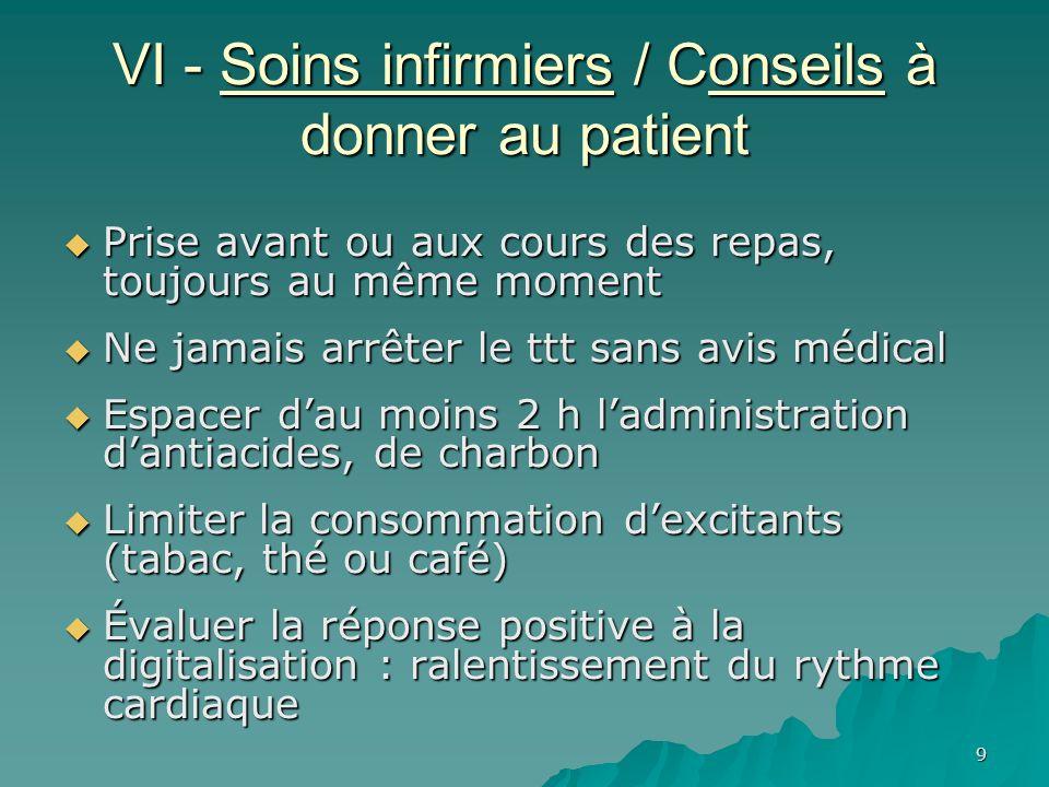 9 VI - Soins infirmiers / Conseils à donner au patient Prise avant ou aux cours des repas, toujours au même moment Prise avant ou aux cours des repas,