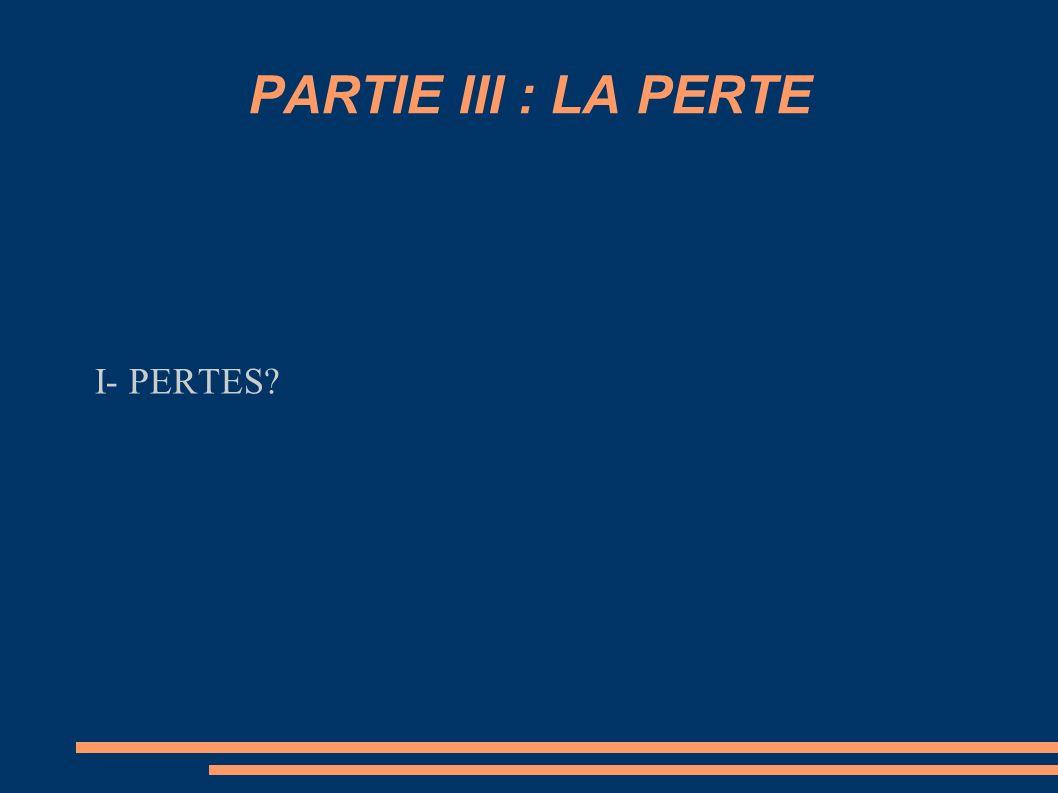 PARTIE III : LA PERTE I- PERTES?