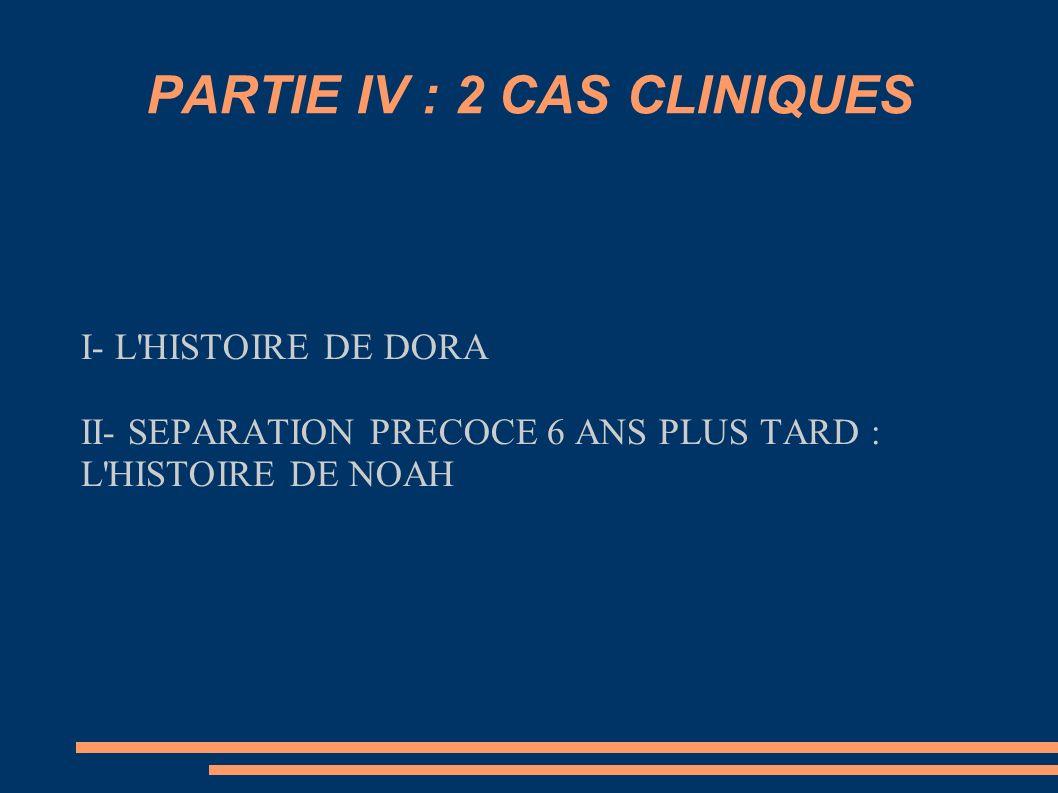 PARTIE IV : 2 CAS CLINIQUES I- L'HISTOIRE DE DORA II- SEPARATION PRECOCE 6 ANS PLUS TARD : L'HISTOIRE DE NOAH