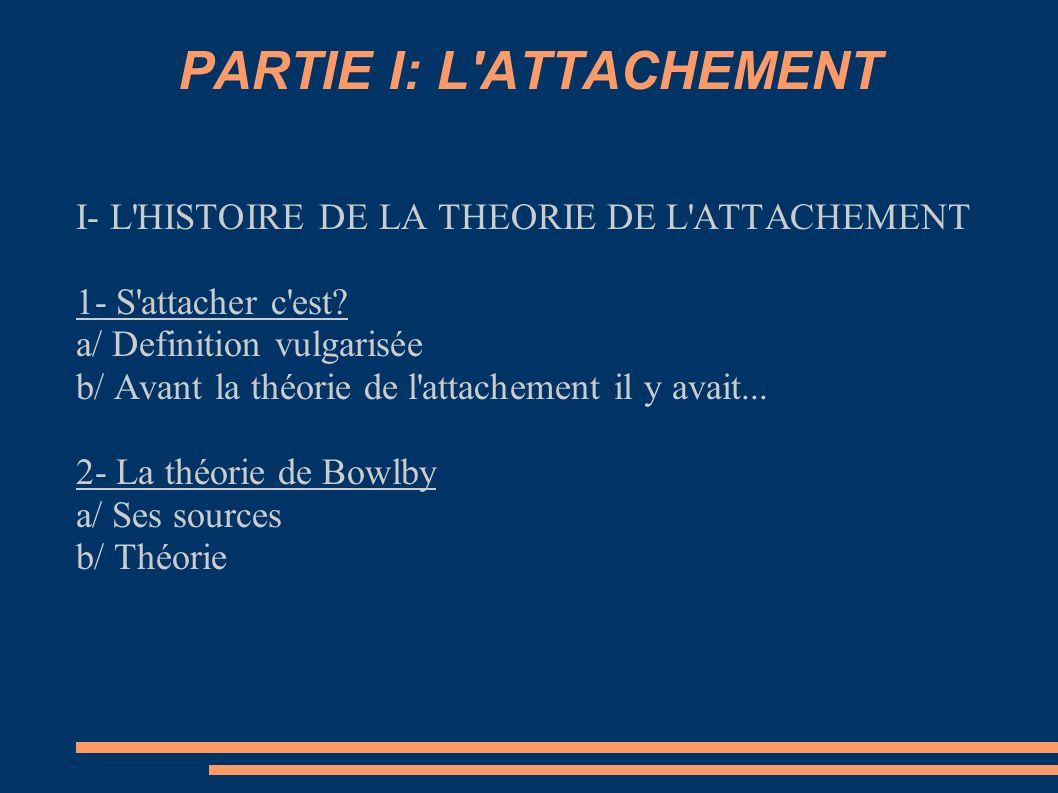 PARTIE I: L'ATTACHEMENT I- L'HISTOIRE DE LA THEORIE DE L'ATTACHEMENT 1- S'attacher c'est? a/ Definition vulgarisée b/ Avant la théorie de l'attachemen