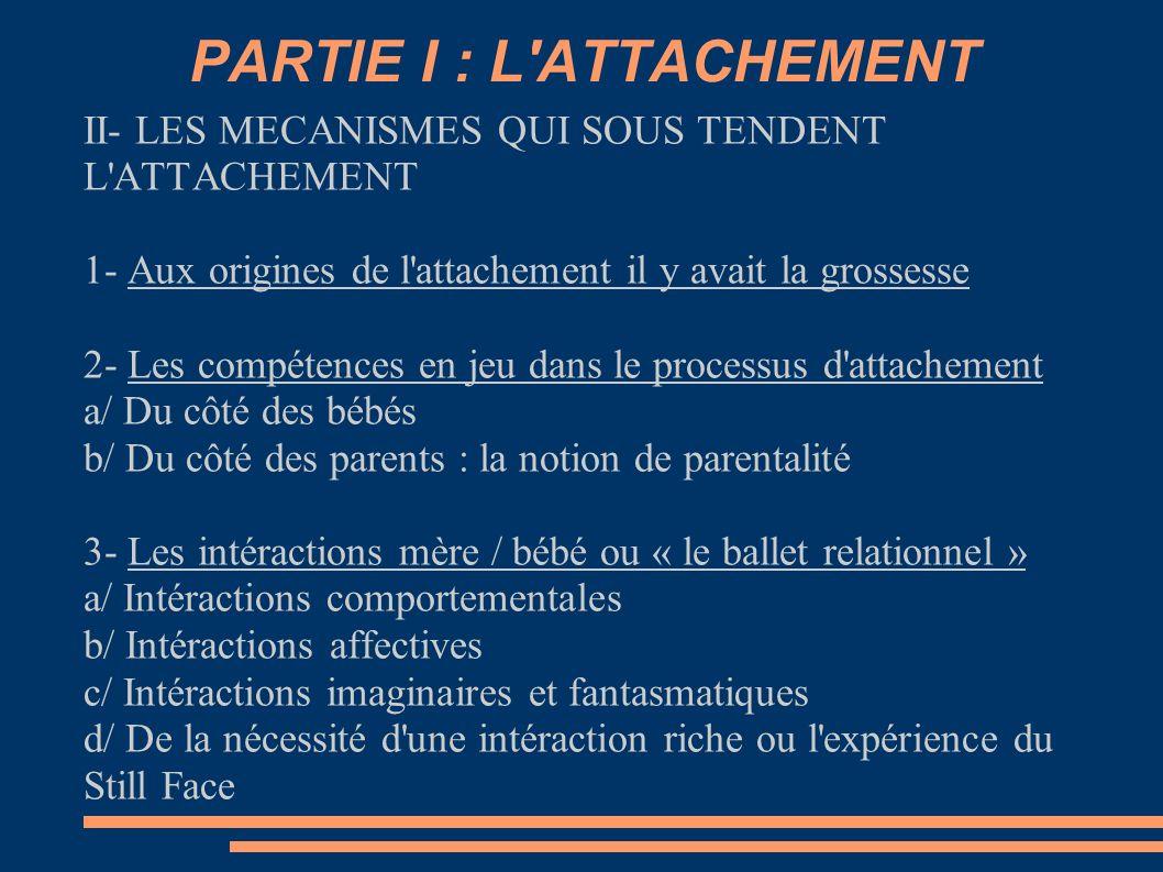 PARTIE I : L'ATTACHEMENT II- LES MECANISMES QUI SOUS TENDENT L'ATTACHEMENT 1- Aux origines de l'attachement il y avait la grossesse 2- Les compétences