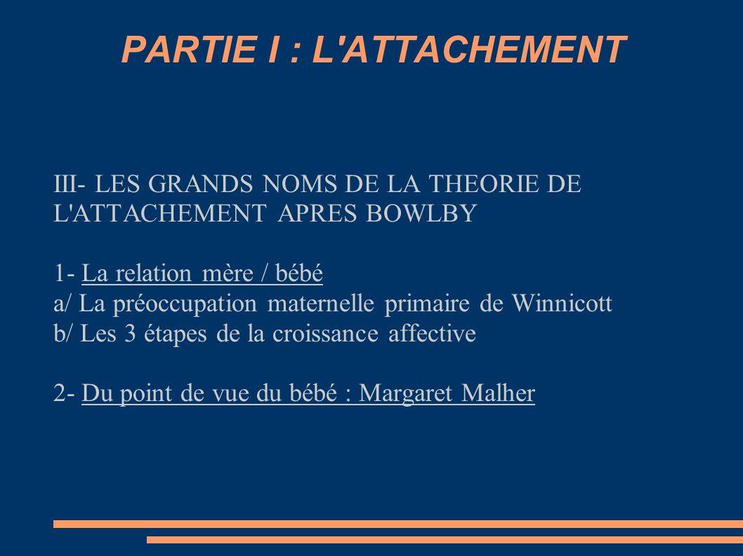 PARTIE I : L'ATTACHEMENT III- LES GRANDS NOMS DE LA THEORIE DE L'ATTACHEMENT APRES BOWLBY 1- La relation mère / bébé a/ La préoccupation maternelle pr