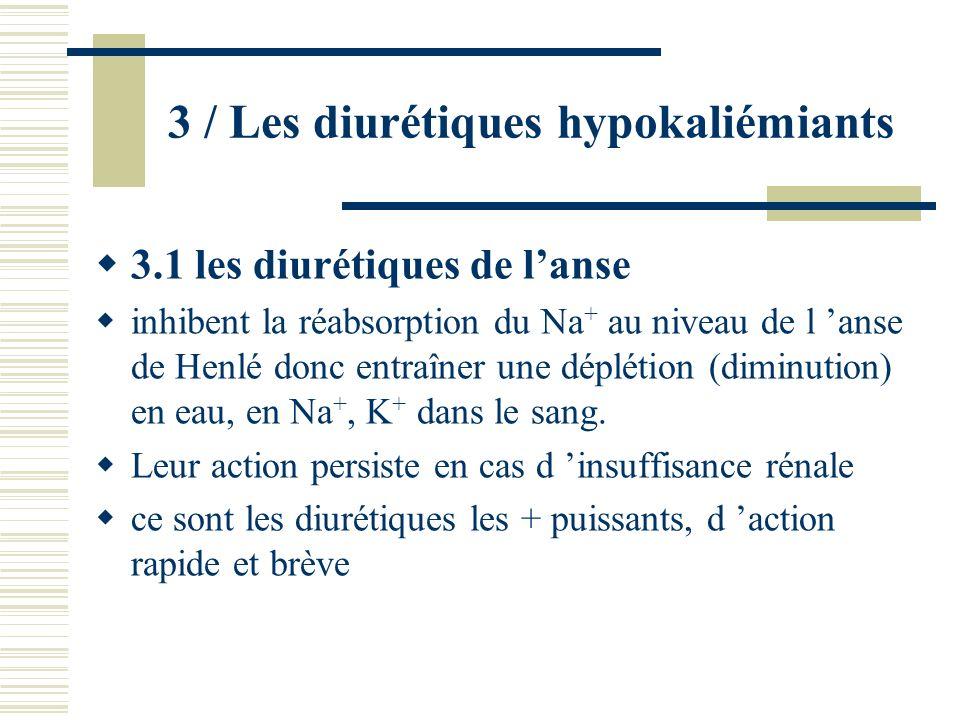 3 / Les diurétiques hypokaliémiants 3.1 les diurétiques de lanse inhibent la réabsorption du Na + au niveau de l anse de Henlé donc entraîner une dépl