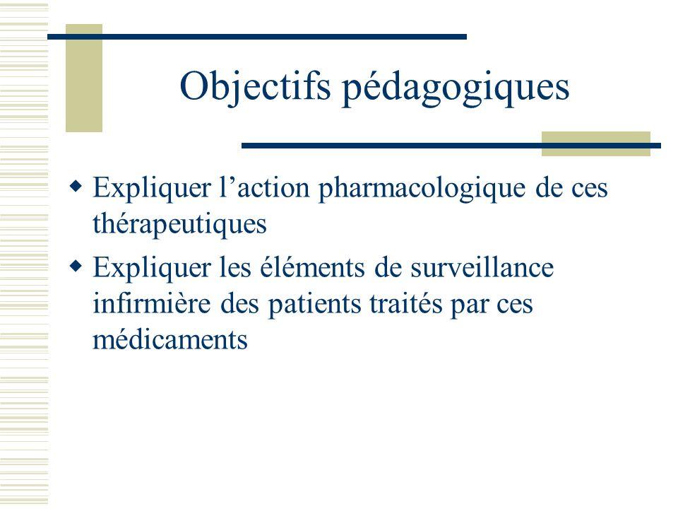 Objectifs pédagogiques Expliquer laction pharmacologique de ces thérapeutiques Expliquer les éléments de surveillance infirmière des patients traités