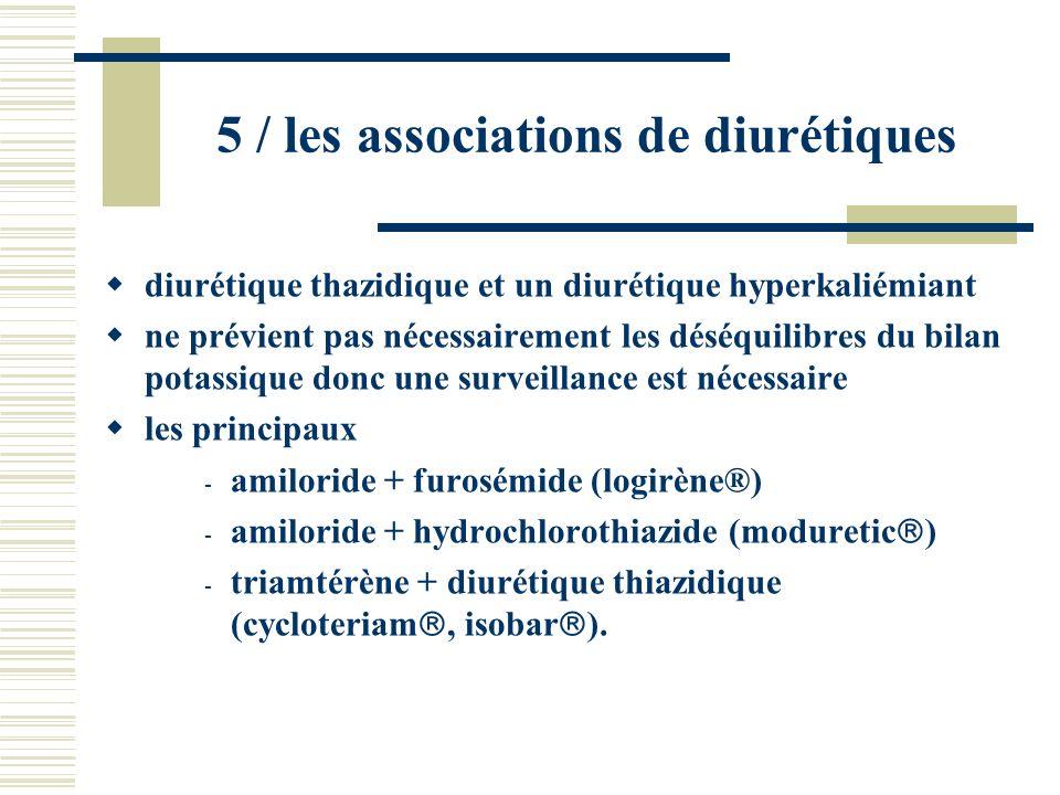 5 / les associations de diurétiques diurétique thazidique et un diurétique hyperkaliémiant ne prévient pas nécessairement les déséquilibres du bilan p