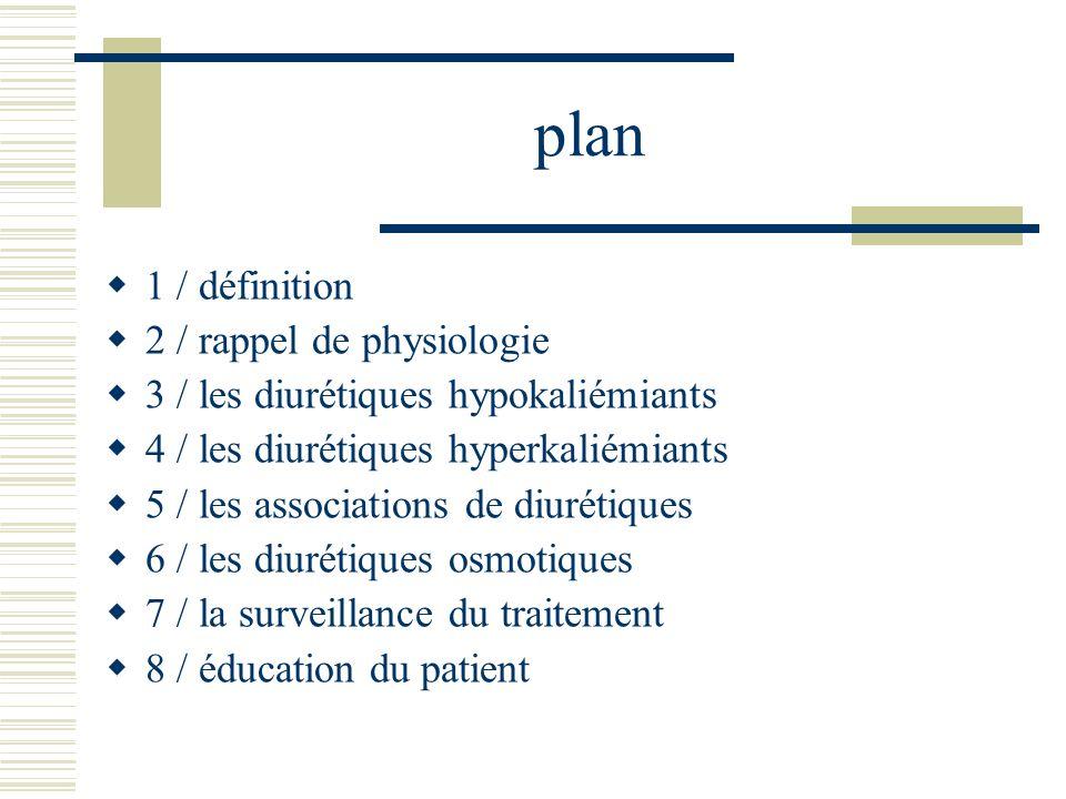 plan 1 / définition 2 / rappel de physiologie 3 / les diurétiques hypokaliémiants 4 / les diurétiques hyperkaliémiants 5 / les associations de diuréti