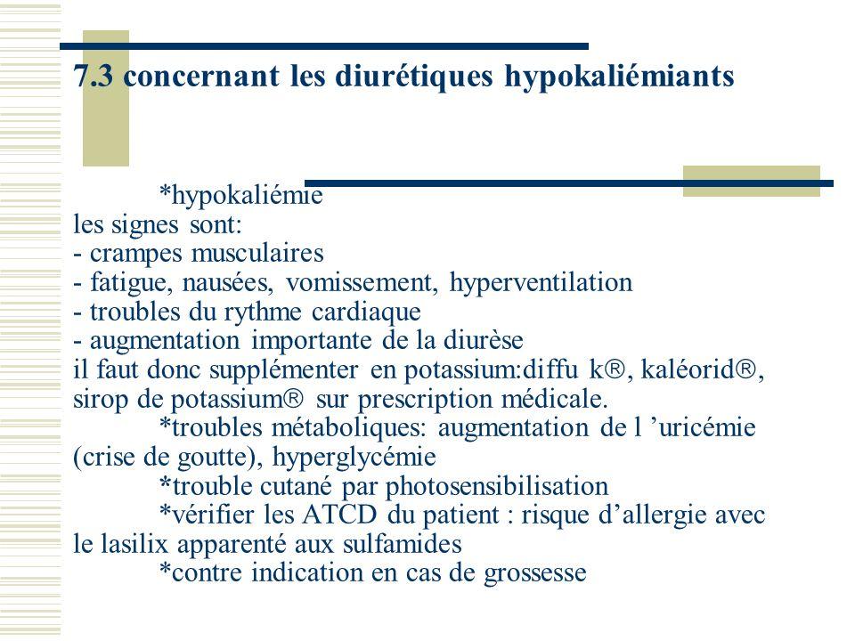 7.3 concernant les diurétiques hypokaliémiants *hypokaliémie les signes sont: - crampes musculaires - fatigue, nausées, vomissement, hyperventilation