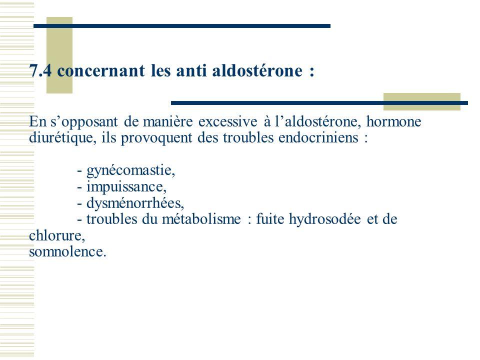 7.4 concernant les anti aldostérone : En sopposant de manière excessive à laldostérone, hormone diurétique, ils provoquent des troubles endocriniens :