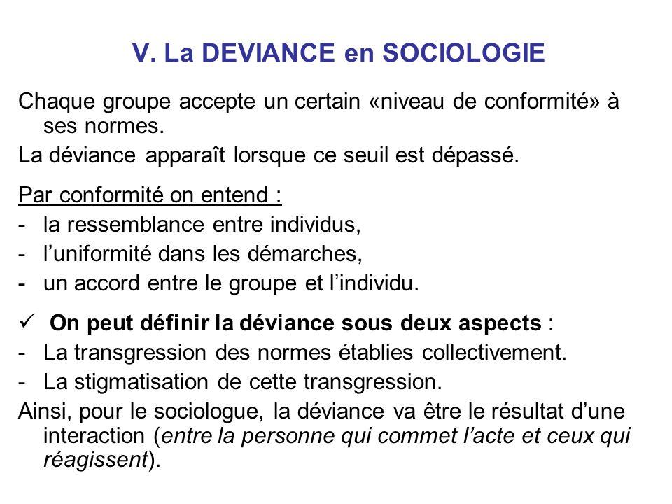 V.La DEVIANCE en SOCIOLOGIE Chaque groupe accepte un certain «niveau de conformité» à ses normes.