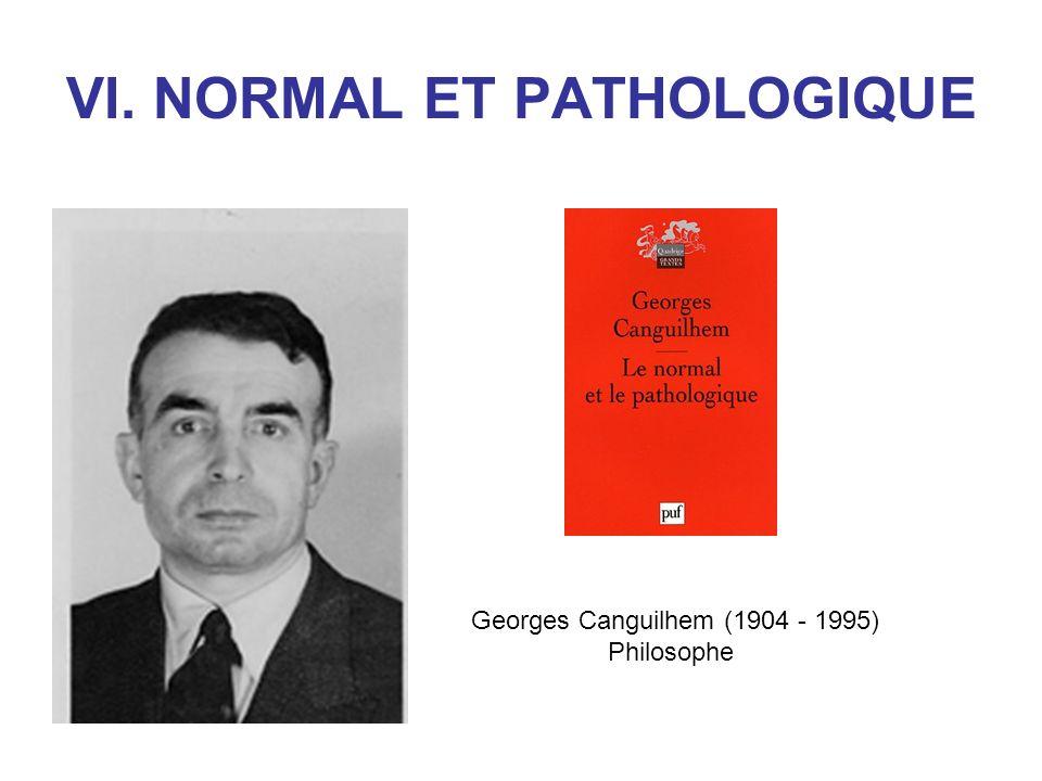 VI. NORMAL ET PATHOLOGIQUE Georges Canguilhem (1904 - 1995) Philosophe