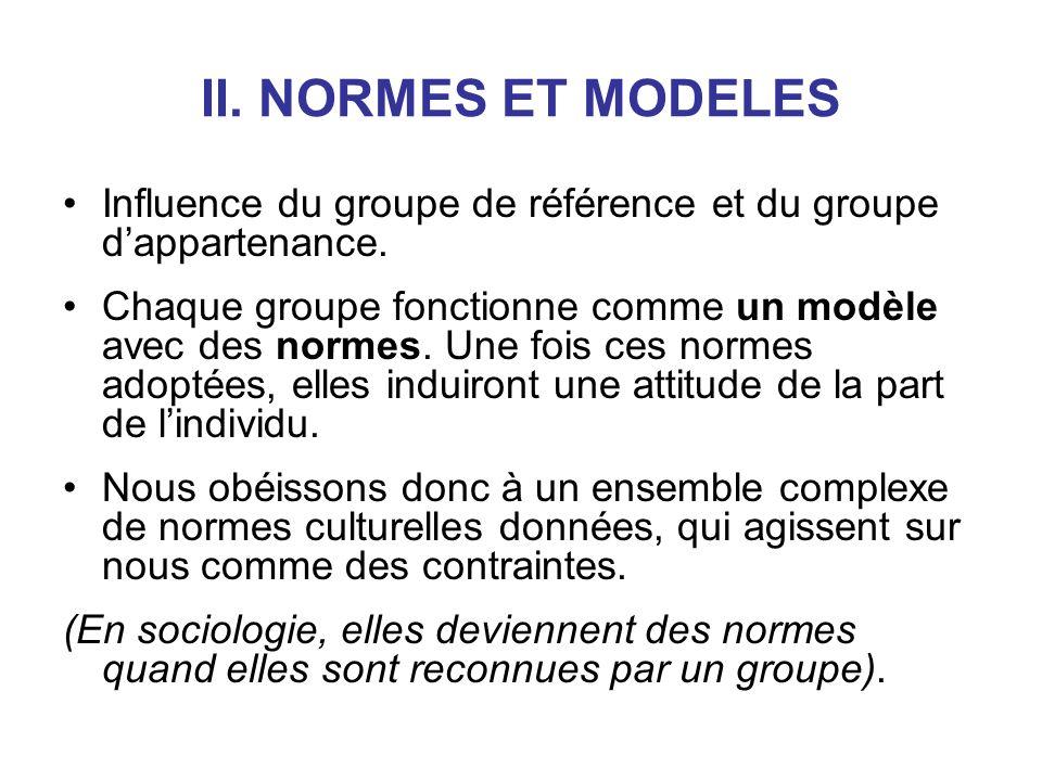 II. NORMES ET MODELES Influence du groupe de référence et du groupe dappartenance. Chaque groupe fonctionne comme un modèle avec des normes. Une fois