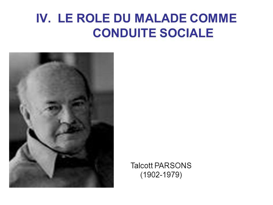 Talcott PARSONS (suite) Nécessité du contrôle social de la maladie car elle menace lordre social.