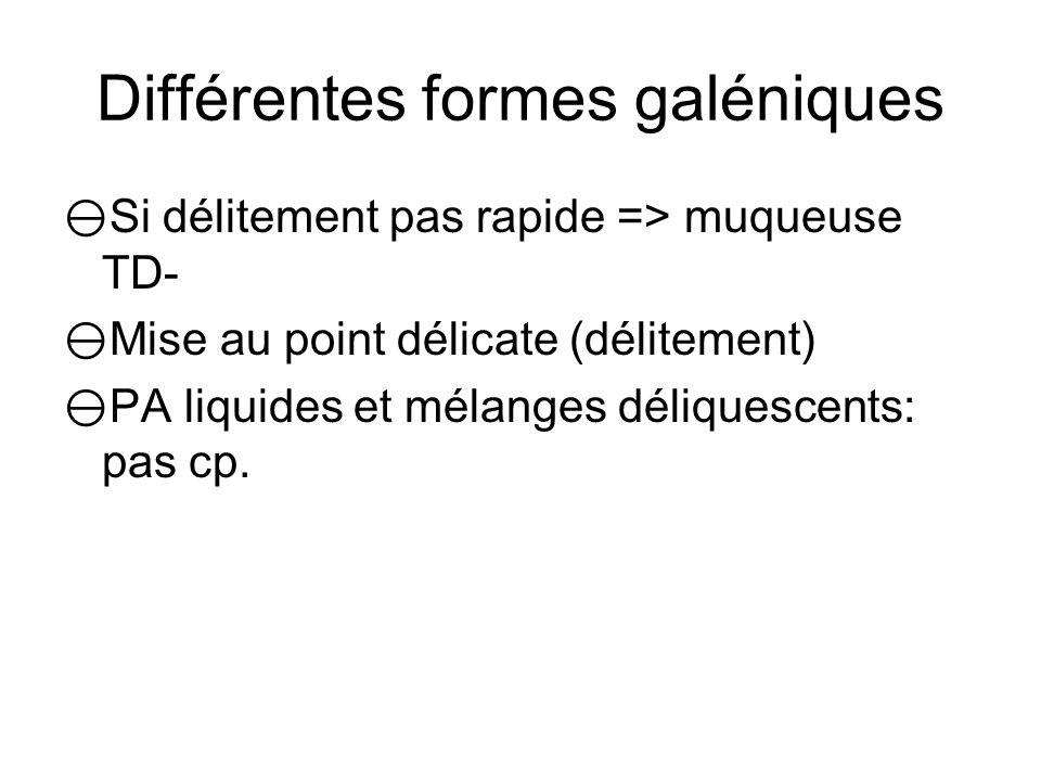 Différentes formes galéniques Comprimé Enrobé ou non Effervescent => dissout dans leau (carbonate + ac organique) dispersion av absorption.