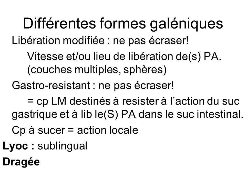 Différentes formes galéniques Gélule = capsule à enveloppe dure (gélatine) Gastro-resistante: granulés Libération modifiée Parfois: ouverture possible.