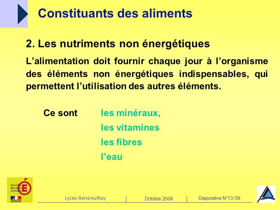 Lycée René AuffrayDiapositive N°13 /39 Octobre 2008 2. Les nutriments non énergétiques Lalimentation doit fournir chaque jour à lorganisme des élément