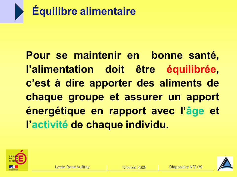 Lycée René AuffrayDiapositive N°2 /39 Octobre 2008 Pour se maintenir en bonne santé, lalimentation doit être équilibrée, cest à dire apporter des alim