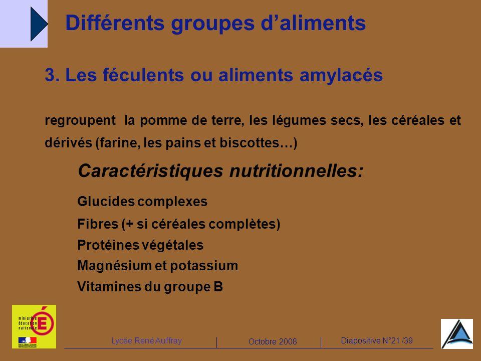 Lycée René AuffrayDiapositive N°21 /39 Octobre 2008 3. Les féculents ou aliments amylacés regroupent la pomme de terre, les légumes secs, les céréales